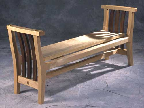 Entry bench with coopered seat