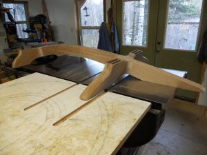 An overall of the glued-up lower base with double mortises cut to receive tenons of the leg structure.