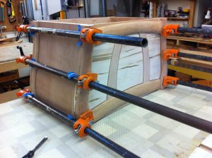Glue-up of cherry and maple blanket chest.