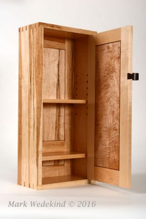 Maple Wall Cabinet, door open