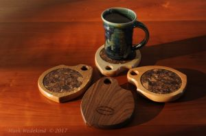Mixed wood coaster set