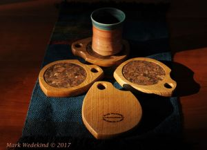 Quarter sawn white oak coaster set